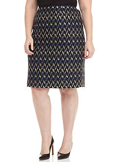Kasper Plus Size Printed Tweed Skirt