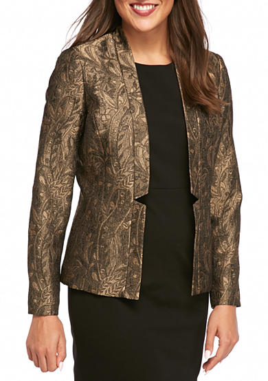 Kasper Open Front Patterned Jacket