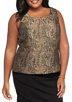 Kasper Plus Size Metallic Jacquard Top