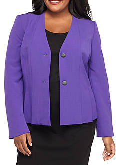 Kasper Plus Size Dual Button V Neck Jacket