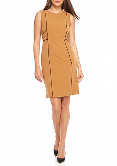 Kasper Sleeveless Piped Dress