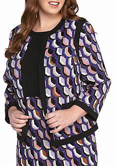 Kasper Plus Size Open Front Patterned Jacket