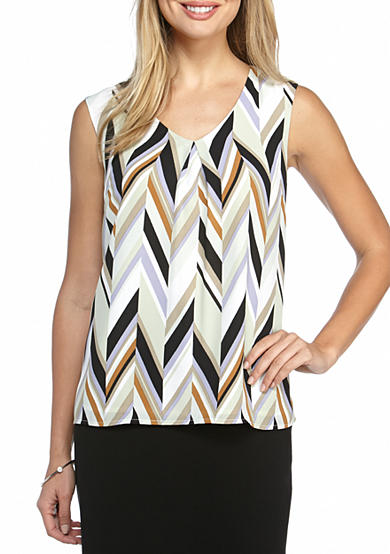 Kasper Sleeveless Print Blouse
