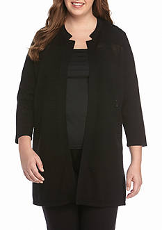 Kasper Plus Size Ribbed Duster Sweater