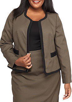 Kasper Plus Size Jacquard Zipper Front Jacket