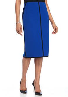 Kasper Contrast Trim Straight Skirt