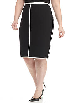 Kasper Plus Size Contrast Trim Straight Skirt