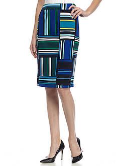 Kasper Print Crepe Skirt
