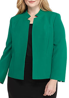 Kasper Plus Size Solid Open Front Jacket
