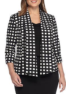 Kasper Plus Size Open Front Print Jacket