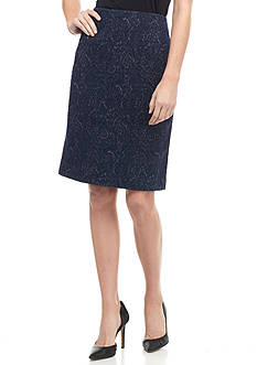 Kasper Textured Knit Jacquard Skirt