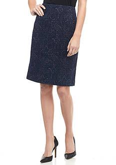 Kasper Petite Textured Knit Jacquard Skirt