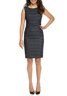 Kasper Belted Twill Sheath Dress
