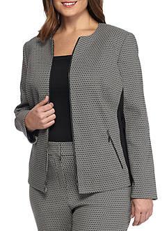 Kasper Plus Size Jacquard Zip Front Jacket
