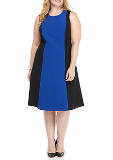 Kasper Plus Size Colorblock A-Line Dress