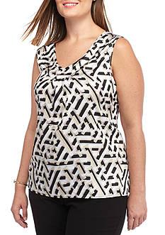 Kasper Plus Size Sleeveless Printed Blouse