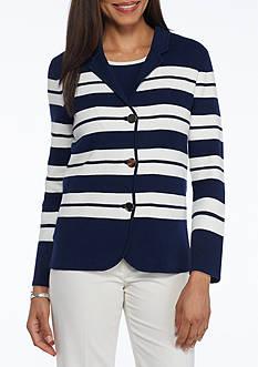 Kasper Striped Sweater Jacket