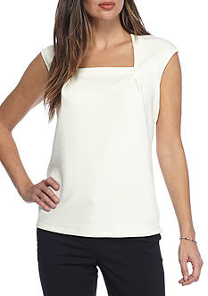 Kasper Square Neck Knit Top