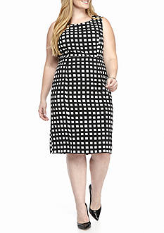 Kasper Plus Size Square Print Dress