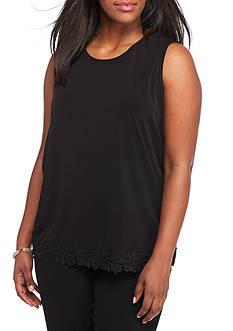 Kasper Plus Size Lace Hem Cami