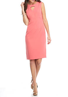 Kasper Keyhole Neck Sheath Dress