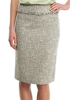 Kasper Fringe Trim Tweed Skirt