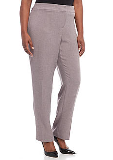Kasper Plus Size Solid Twill Pants