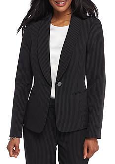 Kasper Pinstripe Shawl Collar Jacket
