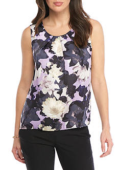 Kasper Floral Pleated Neck Cami