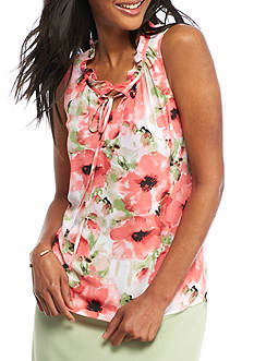 Kasper Floral Printed Ruffle Neck Cami