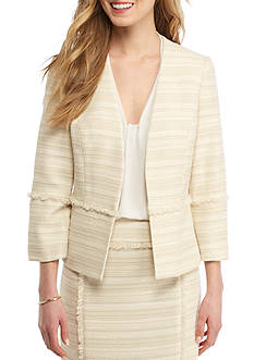 Kasper Petite Fringe Trim Tweed Jacket