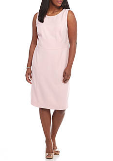 Kasper Plus Size Solid Crepe Sheath Dress