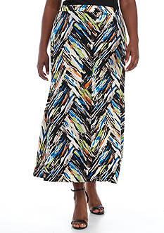 Kasper Plus Size Printed Jersey Maxi Skirt
