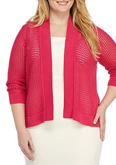 Kasper Plus Size Crochet Cardigan Sweater