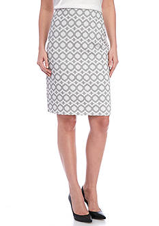 Kasper Abstract Printed Jacquard Skirt