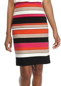 Kasper Stripe Straight Skirt