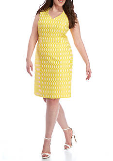 Kasper Plus Size Printed Jacquard Dress