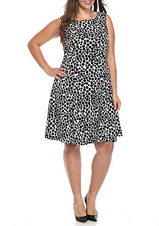 Kasper Plus Size Dotted Sheath Dress