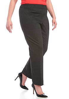 Kasper Plus Size Pin Dot Printed Pants