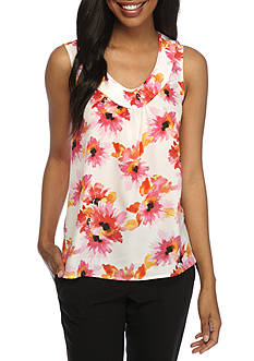 Kasper Floral Gathered V Neck Cami