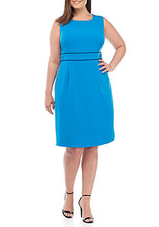 Kasper Plus Size Stretch Crepe A-Line Dress