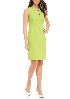 Kasper Two Button Front Sheath Dress