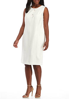 Kasper Plus Size Two Button Front Sheath Dress