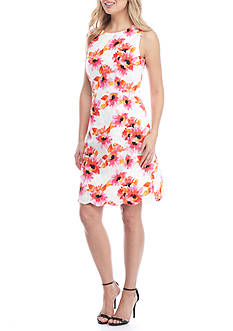 Kasper Floral Jacquard Dress