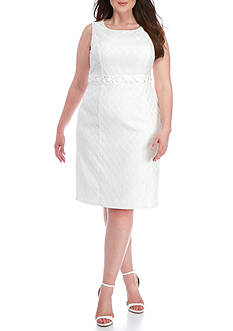 Kasper Plus Size Beaded Waist Sheath Dress