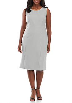 Kasper Plus Size Seersucker Sheath Dress