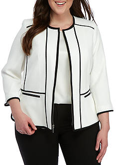 Kasper Plus Size Pique Zipper Piped Jacket