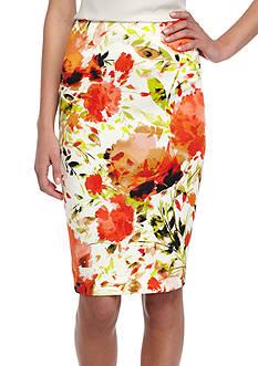 Kasper Floral Printed Slim Skirt