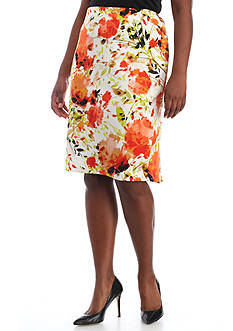 Kasper Plus Size Floral Printed Slim Skirt