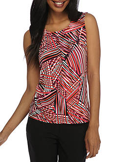 Kasper Printed Pleated Neck Cami